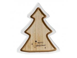 Χριστουγεννιάτικο διακοσμητικό ξύλινο δέντρο 16x16 εκ.