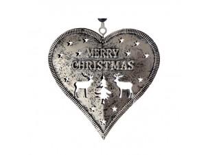 Χριστουγεννιάτικο μεταλλικό στολίδι καρδιά 9 εκ.