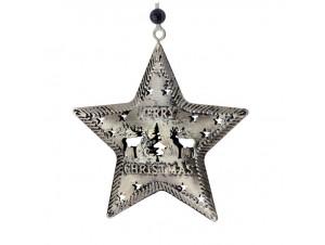 Χριστουγεννιάτικο μεταλλικό στολίδι αστέρι 9 εκ.