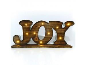 Χριστουγεννιάτικη ξύλινη φωτιζόμενη επιγραφή  JOY 50x9x23 εκ.