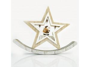 Χριστουγεννιάτικο ξύλινο επιτραπέζιο αστέρι 19,5Χ15,5Χ2 εκ.