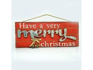 Χριστουγεννιάτικη ξύλινη επιγραφή MERRY CHRISTMAS 45x1x19 εκ.