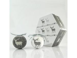 SET 7 τμχ. Χριστουγεννιάτικες μπάλες σε κουτί