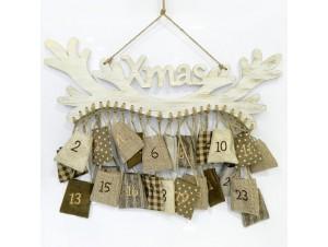 Χριστουγεννιάτικο Ξύλινο Ημερολόγιο Τοίχου 61x1x44 εκ.