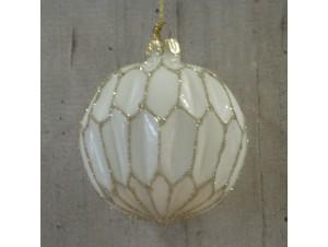 Χριστουγεννιάτικη μπάλα γυάλινα άσπρη 10 εκ.