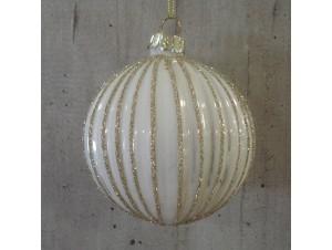 Χριστουγεννιάτικη γυάλινη μπάλα άσπρη 10 εκ.