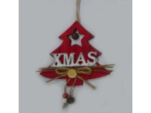 Χριστουγεννιάτικο κρεμαστό ξύλινο αστέρι 12 x 13 εκ.