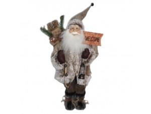 Διακοσμητικός Άγιος Βασίλης μπεζ καφέ 80 εκ.