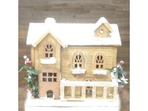 Χριστουγεννιάτικο ξύλινο διακοσμητικό σπιτάκι 9 εκ