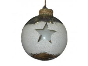 Χριστουγεννιάτικη διάφανη γυάλινη μπάλα 10 εκ.