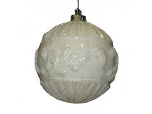 Χριστουγεννιάτικη μπάλα άσπρη 8 εκ.