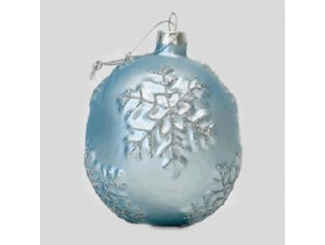 Χριστουγεννιάτικη Μπάλα με νιφάδες,Γυάλινη 8 εκ.
