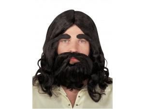 Αποκριάτικη Μαύρη Περούκα Ιησού Με Μούσι Και Μουστάκι