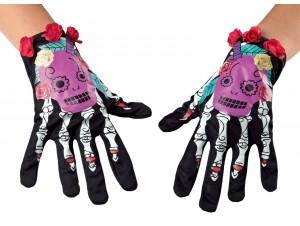 Γάντια σκελετός με λουλούδι