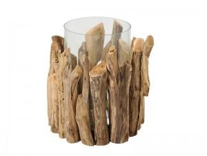 Κηροπήγιο ξύλο-γυαλί