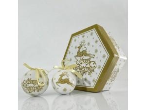 SET 7 τμχ.  Χριστουγενιάτικες μπάλες σε κουτί
