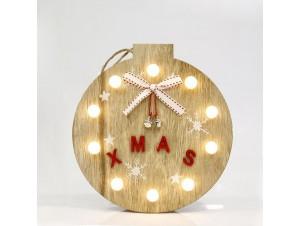 Χριστουγεννιάτικη ξύλινη φωτιζόμενη μπάλα XMAS