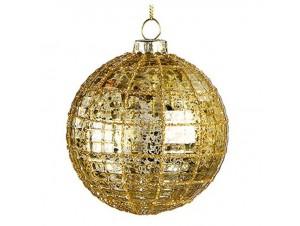 Χριστουγεννιάτικη Χρυσή  Γυάλινη Μπάλα 8 εκ