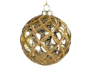 Χριστουγεννιάτικη Γυάλινη Χρυσή  Μπάλα 10 εκ