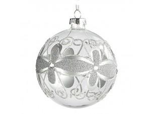 Χριστουγεννιάτικη Γυάλινη Ασημί  Μπάλα 8 εκ