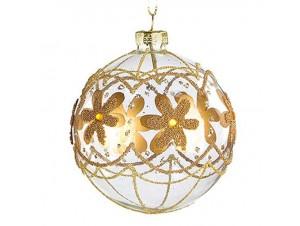 Χριστουγεννιάτικη Γυάλινη Χρυσή  Μπάλα 8 εκ