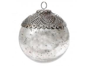Χριστουγεννιάτικη Μπάλα Ασημί Γυάλινη 12 εκ