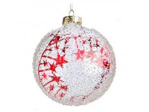 Λευκή Γυάλινη Χριστουγεννιάτικη Μπάλα με σχέδιο