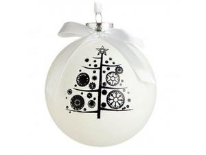Λευκή Χριστουγεννιάτικη Γυάλινη Μπάλα με Σχέδιο