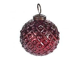 Γύαλινη Χριστουγεννιάτικη Μπάλα Σκούρο Κόκκινο