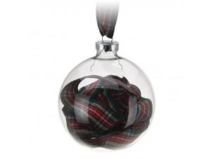 Διάφανη Χριστουγεννιάτικη Γυάλινη Μπάλα με Γέμισμα