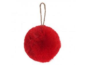 Χριστουγεννιάτικη κόκκινη μπάλα γούνινη  8 εκ.