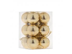 Χρυσή Χριστουγεννιάτικη Μπάλα SET 12 τεμάχια