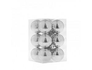 Ασημί Χριστουγεννιάτικη Μπάλα Set 12 τεμάχια