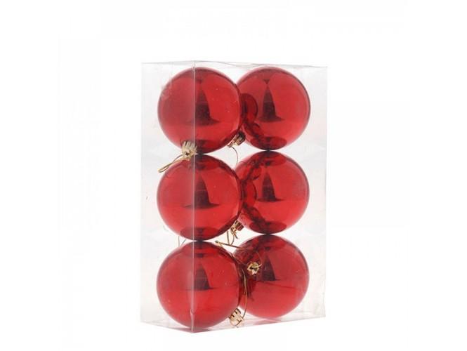 Κόκκινη Χριστουγεννιάτικη Μπάλα SET 6 τεμάχια