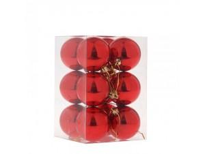 Κόκκινη Χριστουγεννιάτικη Μπάλα SET 12 τεμάχια