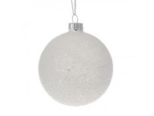SET 6 τμχ. Γυάλινη Χιονισμένη Χριστουγεννιάτικη Μπάλα 8εκ.