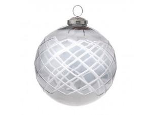 Γυάλινη Γκρι Χριστουγεννιάτικη Μπάλα 13 εκ.
