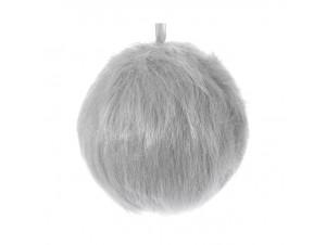 Χριστουγεννιάτικη μπάλα γούνα γκρι 12 εκ.