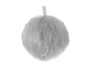 Χριστουγεννιάτικη μπάλα γούνα γκρι 10 εκ.