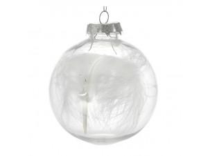 SET 6 τμχ. Γυάλινη Διάφανη Χριστουγεννιάτικη Μπάλα με φτερά 8εκ.