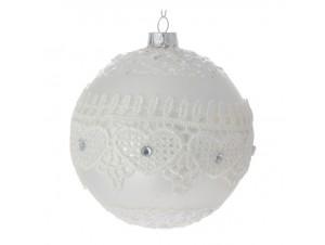 SET 4 τμχ. Γυάλινη Άσπρη Χριστουγεννιάτικη Μπάλα με Δαντέλα 10 εκ.
