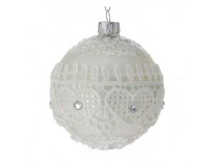 SET 6 τμχ. Γυάλινη Άσπρη Χριστουγεννιάτικη Μπάλα με Δαντέλα 8 εκ.
