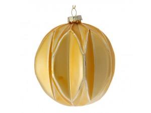 SET 4 τμχ. Γυάλινη Χρυσή Χριστουγεννιάτικη Μπάλα Ανάγλυφη 10 εκ.