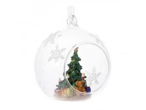 Διάφανη Ανοιχτή Χριστουγιεννάτικη Μπάλα με Δέντρο 9 εκ.