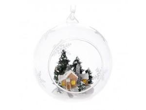 Διάφανη Ανοιχτή Χριστουγιεννάτικη Μπάλα με Σπίτι 9 εκ.