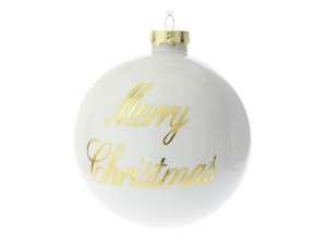 Set 4 τμχ. Λευκή Χριστουγιεννιάτικη Μπάλα με Ευχή 10 εκ.