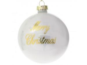Set 6 τμχ. Λευκή γυάλινη Χριστουγιεννιάτικη Μπάλα με Ευχή 8 εκ.