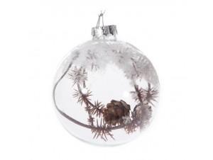 Set 6 τμχ. Διάφανη γυάλινη Χριστουγιεννιάτικη Μπάλα με Κλαδιά 8 εκ.