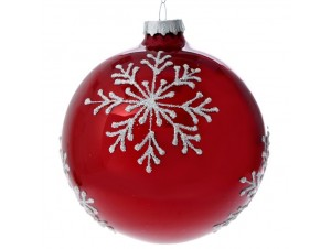 Set 4 τμχ. Γυάλινη Κόκκινη Χριστουγεννιάτικη Μπάλα με Νιφάδες 10 εκ.