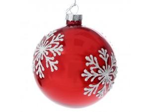Set 6 τμχ. Γυάλινη Κόκκινη Χριστουγεννιάτικη Μπάλα με Νιφάδες 8 εκ.